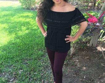 Campesina mexican black blouse