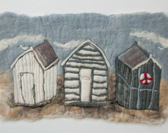 Beach houses felted painting