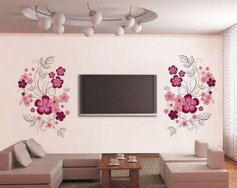 Flower Branches Vinyl Removable Art Wall Sticker Decal Home DIY Wall Decor