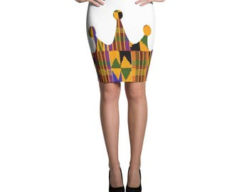 Pencil Skirt, Kente skirt, Kente crown, African clothing