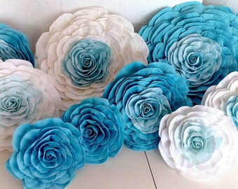 12 large giant paper flowers Wall bridal baby shower blue boy girl backdrop little man party Wedding wall birthday Nursery first communion