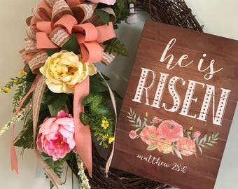 He is Risen Oval Grapevine Wreath