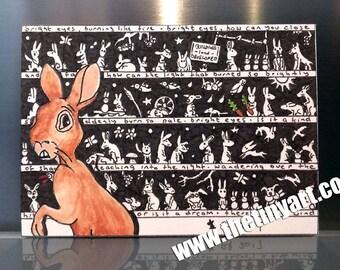 Watership abajo arte, impresión ACEO, conejo arte, Watership abajo impresión, Retro cine arte, arte de la película de culto, pluma y tinta de cine arte, Fiver el conejo