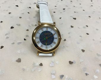 New Ladies Australian Opal Brand New Swiss Movement wrist watch, white leather band, mother of pearl face Aussie Opal,22 carat gold plate