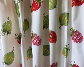 Sweet Scandinavian vintage pair of curtains, printed on white bottom with fruit and berries in red and green from Sweden