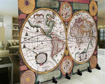 Room Divider Paravent Folding Fordable Screen Travel Journey World Map 6 Panel (180x240cm) Furniture Home Decor Printed Canvas Two-Sided