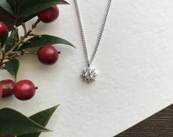Snowflake necklace, CZ necklace, winter wedding jewelry, Valentines gift for her, stocking stuffer for women