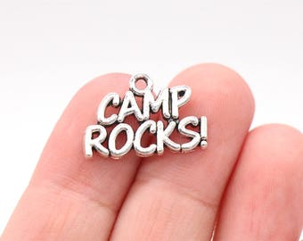 10 Pcs Camp Rocks Charms Camping Charms Antique Silver Tone 21x14mm- YD0785