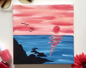 Sunset Over Water Hand Painted Canvas, 8x8 in.