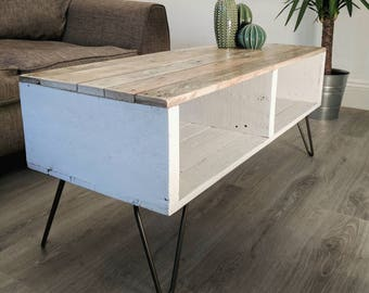 Reclaimed Timber Coffee Table TURVAS | 5 different finishes | With Vintage Hairpin Legs