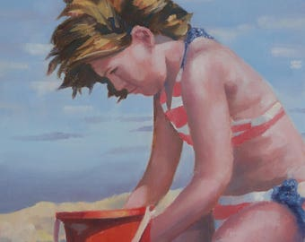 large, original, beach painting, child at beach, red bucket, beach decor, red white and blue, nautical, child playing in sand, children