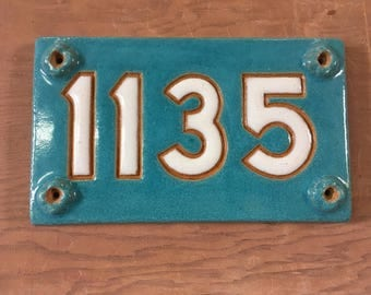 Handmade Stoneware Address Plaque 1135