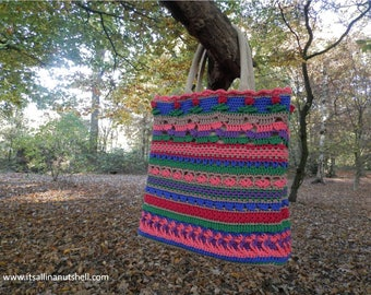 Crochet covered tote bag