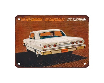 """1963 Chevrolet Impala - Vintage Look Reproduction 9"""" X 12"""" Metal Sign"""