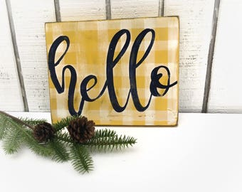 Hello,In STOCK, Will ship out within 1-2 days, wood sign, yellow and white checkerboard, navy