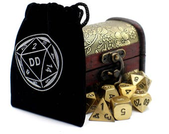 7 Piece Metal Dice Set with Gold Storage Chest / Box for Dungeons and Dragons