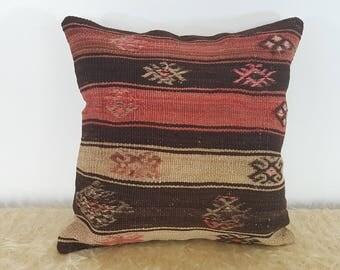 Black Red and Beige Kilim Cushion Covers