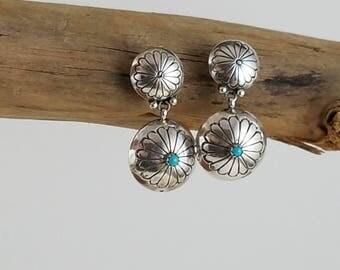 Vintage Native American Sterling turquoise earrings concho earrings southwestern jewelry dangle earrings turquoise PD2792