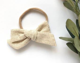 Natural Beige Linen // Hand Tied, Schoolgirl, Linen Bow