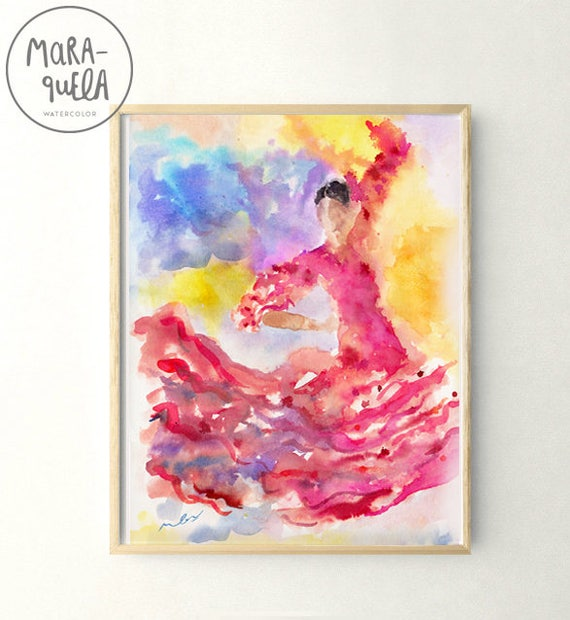 FLAMENCA watercolor Illustration. Colorful Flamenco dancer. FLAMENCA en acuarela.
