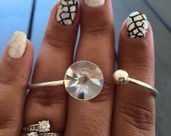 Silver 925 with swarovski crystal Bangle Bracelet