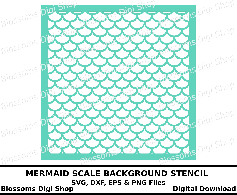 mermaid scale pattern digital download diy stencil fish
