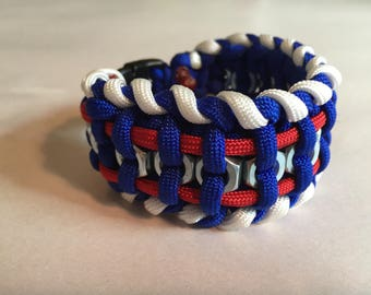 Patriotic hex nut paracord bracelet