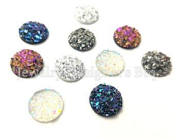 20pcs Most Popular 10mm Sampler Package - Faux Druzy Cabochons - Glitter Resin Druzies - Iridescent Metallic - 5 Colors - Fits 10mm Bezel
