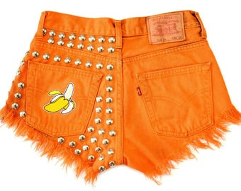 ORANGE Banana shorts High waisted denim hand dyed vintage Levis distressed jean patched cut off studded hippie M Medium size