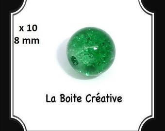 10 round 8 mm Green CRACKLE glass beads