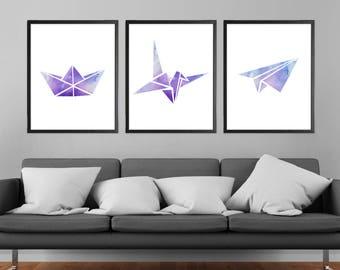 Origami Modern Art Prints Minimalist Watercolor Blue Purple