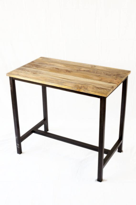 Table haute industrielle m tal et bois for Table haute industrielle