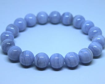 Blue Chalcedony Bracelet, 12mm Blue Chalcedony Bracelet, Blue Lace Agate Bracelet, Chalcedony Jewelry, Blue Bead Bracelet,  Blue Lace Agate