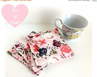 Fabric Coasters, Mug Rug, Set of Four Coasters, Floral Coasters, Housewarming Gift