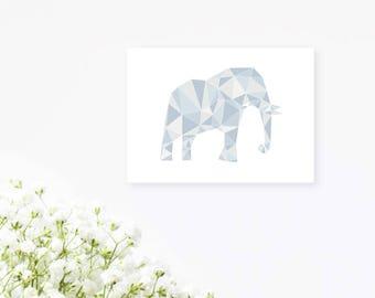 Elephant Animal Geometric Greetings Card   Friend, Sibling, Coworker Card   Generic Greetings Card