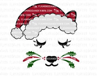 Christmas cat svg, kitten svg, christmas dxf files, cat face svg, kitten christmas svg, kitty svg files, cat face dxf, svg christmas