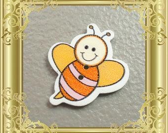 Bee Cross Stitch Needle Minder - Orange