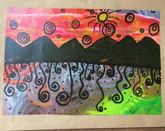 Signed Print of my original Desert Sunset painting