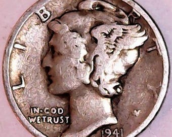 1941 PLAIN MERCURY DIME Good Condition from the Philadelphia Mint 90% Silver shipped by 1st Class Mail including tracking