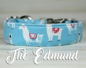 Dog Collar Llamas, Llama Dog Collar, Funny Dog Collar, Llama Collar, Animal Dog Collar, Llama Print, Llama Fabric, Dog Collar, Blue Collar
