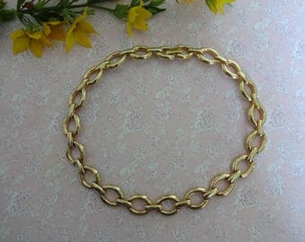 Vintage Gold Necklace, 1970s Necklace, Gold Collarette  Necklace, Statement Gold Necklace, Gold Choker Necklace, Gold Chain Link Necklace