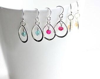 Choose Your Own Colour - Sterling Silver Teardrop Earrings - Dangle Drop Earrings - Wire wrapped gemstone Earrings - Gifts for her