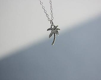 Hawaii Palm Tree Necklace, Silver Palm Tree Necklace, Black Oxidized Palm Tree, Tree charm necklace, Beach Necklace, Palm Tree Jewelry