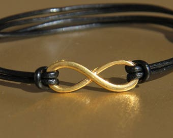 women bracelet infinity leather cord adjustable .very fashion