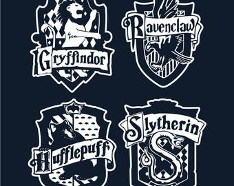 Gryffindor, Ravenclaw, Hufflepuff and Slytherin Crest Set