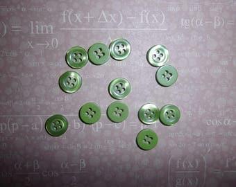 lot de 12 boutons vert nacré en plastique 1 cm