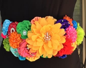 Rainbow Maternity/Pregnancy Sash, Multicolored Flower Baby Shower Sash, Mexican Fiesta Maternity Sash, Baby, Belly, Bump, Band, Belt Sash
