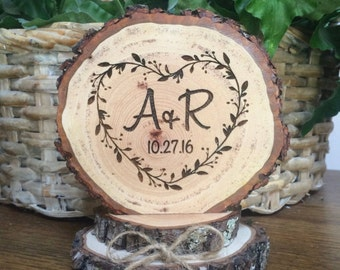 Rustic Wedding Cake Topper, Heart Cake Topper, Wood Cake Topper, Engraved Topper, Custom Wedding Cake Topper, Rustic Wedding Decor