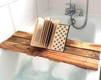Wooden Bath Tray Shelf Caddy
