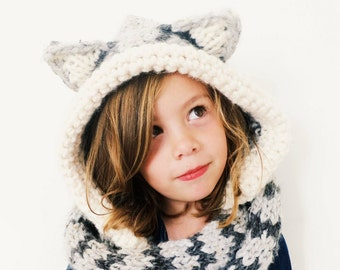 PATTERN for Cat Kitten Hat Hood Cowl Scarf Knit Toddler Child Adult // Tilly the Tabby Cat Hood PATTERN